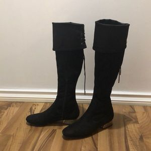 Guess Over the Knee Gold Block Heel Boots